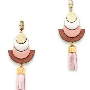 🔥 JCrew PinkLeather Wood Accents Earrings